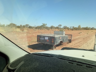 There were lots of trailers left behind on the Plenty Highway.